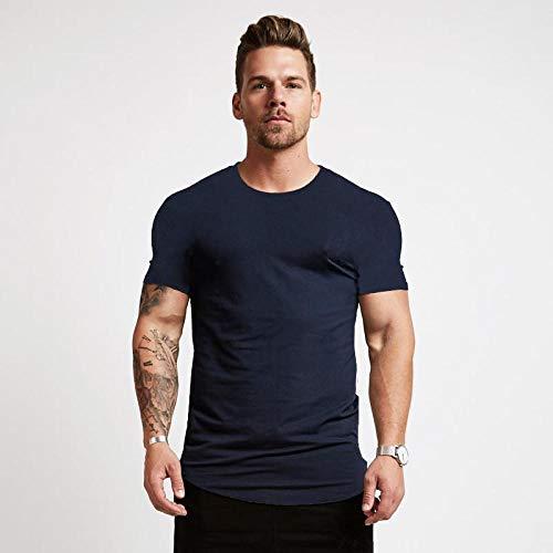 B/H Gym Running Top Workout Camisetas para Hombres,Muscle Fitness Gran Camiseta de Manga Corta, Running Casual Brother-Navy_XL