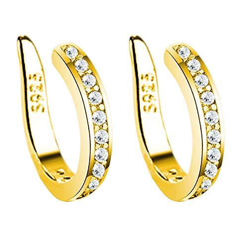 MYA art Damesoorklem oorbellen 925 zilver verguld met zirkonia strass steen glitter fake piercing ring Hoop Clip On Ear Cuff oor Helix Gold
