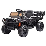 VALUE BOX Ride on Truck with Trailer, 2.4G Remote Control 12v Battery Electric Kids Toddler Motorized Vehicles Toy Car w/ 2 Speed, Music, seat Belts, LED Lights and Realistic Horn (Black)