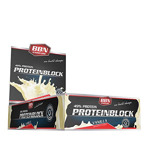 Best Body BBN Hardcore Protein Block Barretta Proteica Vanille, Confezione da 15 pezzi