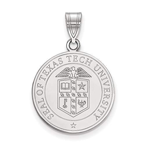 Charm Pendant White Sterling Silver Texas NCAA Tech University 25 mm 18