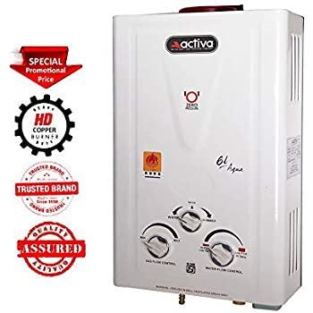 ACTIVA 6Ltr. Instant LPG Gas 100% Copper Tank with Anti Rust Coating Body to Saves Your Geyser from Corrosion by Water, ISI Approved Water Heater Aqua (Ivory)