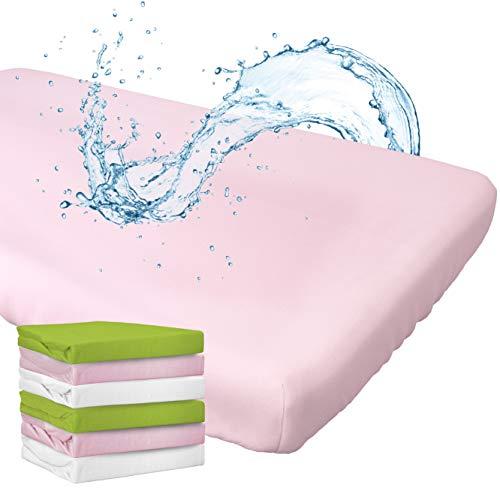 WhizProducts Spannbettlaken mit integriertem Matratzenschoner 70 x 140 cm (rosa) für Babybett - atmungsaktiv und wasserdicht - Spannbetttuch mit zuverlässigem Nässeschutz für Babys und Kinder