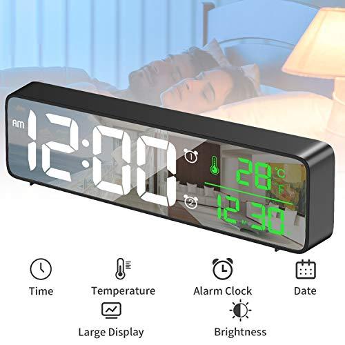 HOTERB Sveglia Digitale a Specchio, sveglie da Comodino Extra Lunghe per scrivania da Tavolo con Data della Temperatura Display Caratteri Grandi, Alimentazione a Rete (Nero)