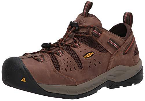 KEEN Utility Men's Atlanta Cool 2 Low Steel Toe Work Shoe, Shitake/Rust, 12 Medium US