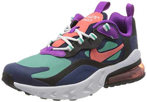 Nike Air MAX 270 React (GS), Zapatillas para Correr, Blue Void Magic Ember Black Kinetic Green, 39 EU