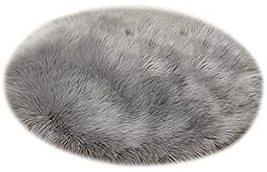 Tapis en Fausse Fourrure, Imitation Polaire Moelleuse Zone Tapis antidérapant Tapis de Yoga pour Le Salon Chambre à Coucher Canapé Tapis de Sol (Rond Gris, 60 x 60 cm)