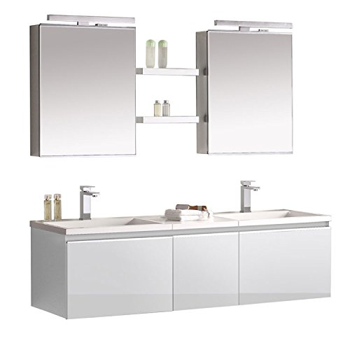 EAGO Badmöbel Milano ME-1600+ weiß/160x45