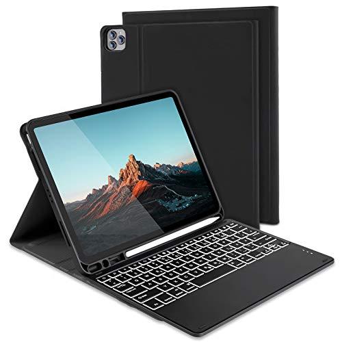 Jelly Comb Beleuchtete Tastatur Hülle für Neues iPad Air 4 2020 10.9 Zoll, Wiederaufladbare Bluetooth QWERTZ Funktastatur mit Schutzhülle und Pencil Halter, Schwarz
