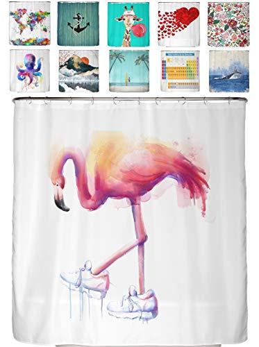 arteneur® - Flamingo mit Sportschuh - Anti-Schimmel Duschvorhang 180x200 mit Öko-Tex Standard 100 - Beschwerter Saum, Blickdicht, Wasserdicht, Waschbar, 12 Ringe und E-Book