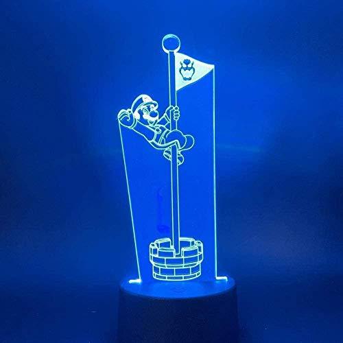 FUTYE Led noche luz juego Super Mario tocando la portería poste bandera regalo fresco para niños dormitorio decoración mesa escritorio 3D lámpara
