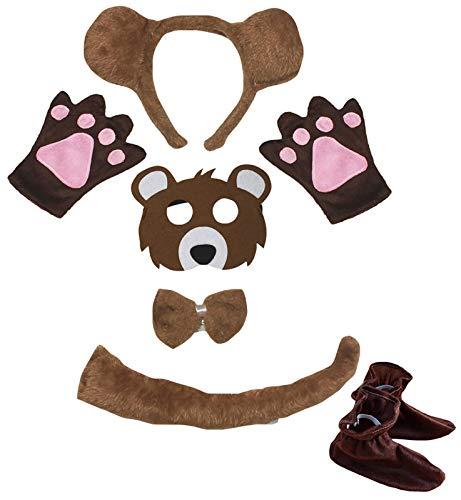 Petitebelle Diadema de oso marrn, guantes de cola de pajarita, 6 unidades, disfraz (marrn (cola larga), 1-5 aos)
