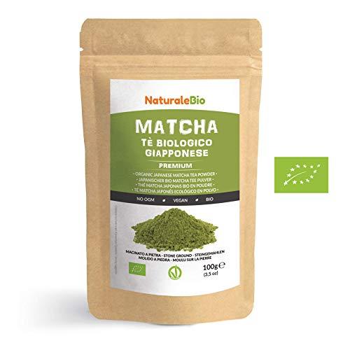 Thé Matcha Bio Japonais [ Premium Qualité ] 100 gr. Thé Vert Matcha en Poudre 100% Naturel. Matcha Green Tea Produit au Japon Uji, Kyoto. Idéal à Boire, pour Cuisiner et dans le Lait. NATURALEBIO®