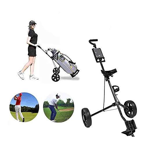 YANG 2 Räder Golf Trolley Push Pull Golfwagen Mit Einstellbarem Griffwinkel Für Alle Taschen & Golf Sets