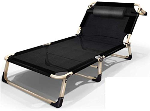 Sun Lounger Garden Chairs Foldable Deck Chair Zero Gravity Widened Beach Chairs, Lightweight Folding Lounge Chair with Pillow Outdoor Camping Patio Lawn Chairs (Color, Gray),Black