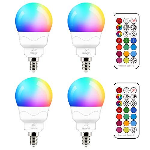 E14 Led Lampe 5W (ersetzt 40W) RGBW mit Fernbedienung Warmweiß 2700K Ambiente RGB Farbwechsel Farbige Birne Leuchtmittel Dimmbare (4er-Pack)