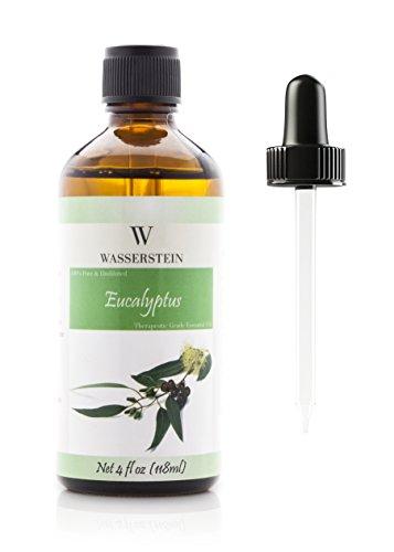 Aceite esencial de eucalipto para aromaterapia (118 ml / 4 OZ) - Aceite esencial puro de grado terapéutico (Eucalyptus Globulus) de Wasserstein (4oz eucalipto)