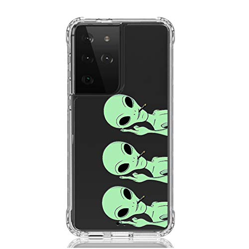 HUIYCUU for Galaxy S21 Ultra 6.9' Case,Shockproof Anti-Slip Cute Green Animal Print Clear Design Pattern Funny Slim Crystal Soft Bumper Kid Girl Women Cover Case for Samsung Galaxy S21 Ultra,Aliens
