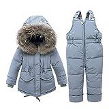 Caretoo Combinaison chaude d'hiver pour bébé fille avec veste de neige et veste en duvet avec capuche + pantalon de ski en duvet 2 pièces -  Gris -  étiquette 80 cm/hauteur 28/33'