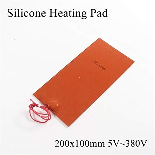 without XXF-qbtx, 1pc 12V Silicone Heating Pad Square Rubber Heat Mat Heated Bed Plate Flexible Waterproof 3D Printer (Color : 200x100mm, Size : 12V)