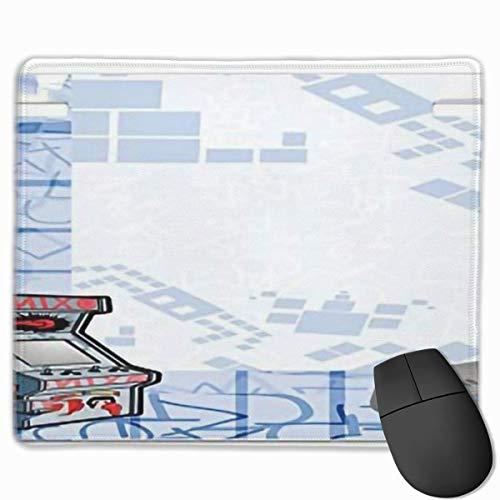 Niedliches Gaming-Mauspad, Schreibtisch-Mauspad, kleine Mauspads für Laptop-Computer, abstrakter Gaming-Hintergrund für Mausmatten-Kinderzimmer mit Arcade-Maschine und Konsolenspaß Sketchpale Blau Gra