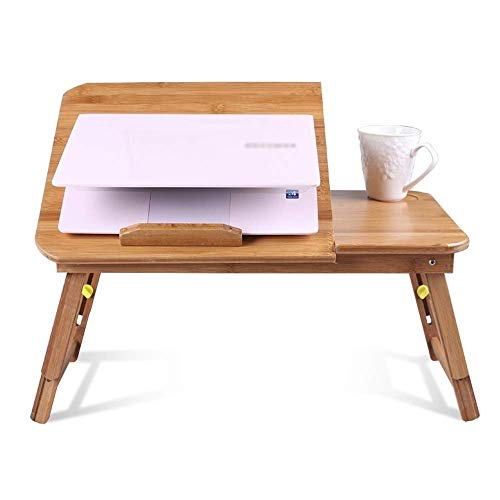 KANJJ-YU Escritorio plegable para computadora portátil, plegable, mesa de escritura, ajustable, de madera, para cama, hogar, oficina, sofá, suelo, color natural, tamaño: 54 x 34 cm)