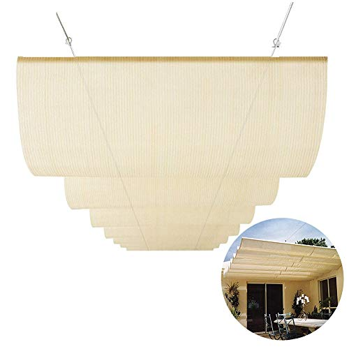 PENGFEI Retractable Pergola Canopy Shade Cover, Sunscreen for Deck, Terrace, Gazebo, Courtyard Wave Roof Awning, Custom Size (Color : Beige, Size : 2x2M)