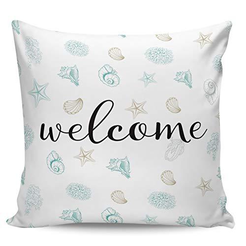 Winter Rangers Fundas de almohada decorativas, diseño de estrellas de mar de ensueño de bienvenida con elementos frescos de coral para sofá, cama, silla, ultra suave y transpirable, 40,6 x 40,6 cm