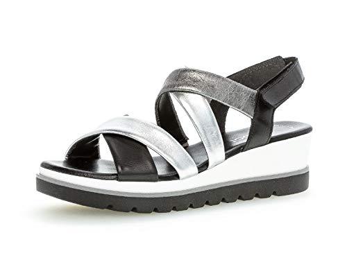 Gabor Damen Sandalen, Frauen Keilsandalen,Best Fitting, Keilabsatz sommerschuh bequem flach Damen Frauen weibliche,Silber/schw./Stone,38 EU / 5 UK