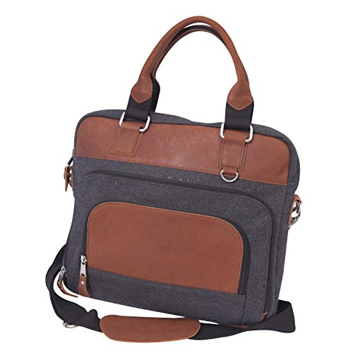 Canyon Outback Leather Goods, Inc. Jonah Wool Computer Briefcase - Store Macbooks and Tablets - Perfect for Men and Women