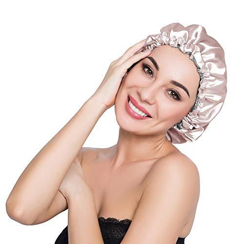 ELIHAIR Stain Bonnet Silky Sleep Cap Adjustable Satin Cap for Night Sleeping Hair Bonnet Reversible Double Layer Champagne/Grey