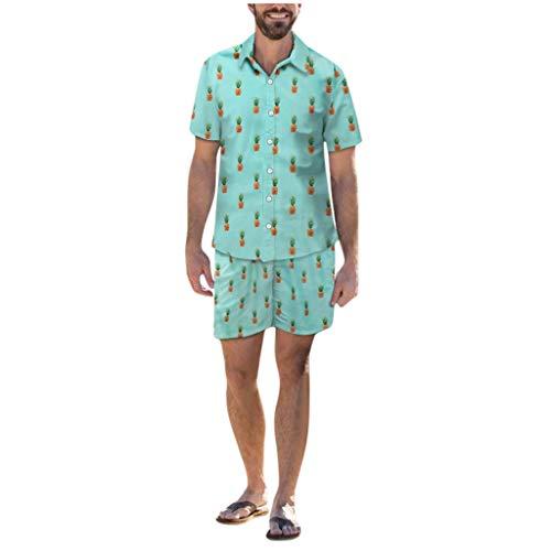 Yue668 - Disfraz de pia sobre el verde hawaiano Lche Beachwear de manga corta con botones informales y conjuntos