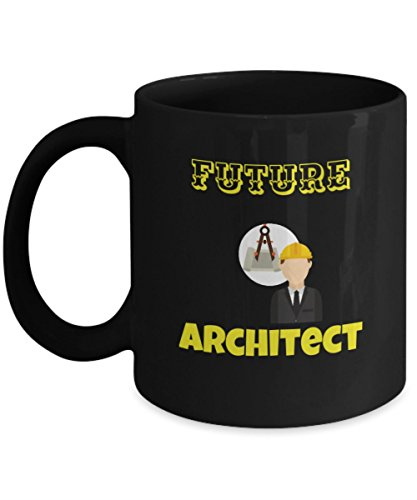 Architect Coffee Cup - Black Porcelain Coffee Cup,Premium 11 oz White Coffee Cup