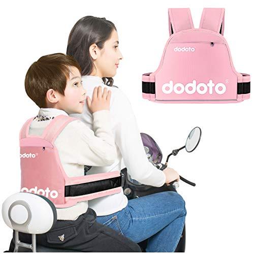 Cintura di Sicurezza per Moto per Bambini,Regolabile Confortevole Cintura di Protezione per Bambini,Con Strisce Riflettenti, Regali per Ragazzi e Ragazze di età Compresa tra 1 e 10 anni (Rose)