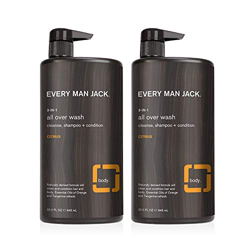 Every Man Jack Mens Cleansing 3-in-1 All Over Wash for All Skin and Hair Types - Cleanse, Nourish, and Soothe Your Skin and Hair with Naturally Derived Soy Proteins, Aloe, Glycerin and a Bright Citrus Scent - Twin Pack