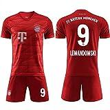 GFGD Magliette per Tifosi da Uomo-Lewandowski # 9 Magliette da Allenamento per Calcio per Ragazzi Supporter Attrezzature con Maglietta + Pantaloncini per Inviare Calze + Leggings-Red-Adult~M