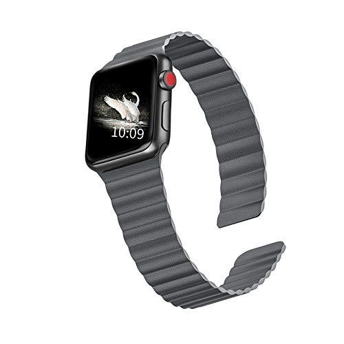 LKEITY Compatible con Apple Watch, correa de piel magnética, 44 mm y 42 mm, correa de piel magnética, para iWatch Serie 6/SE/5/4/3/2/1, color gris, tamaño mediano