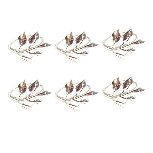 Xigeapg 6Pcs Fall Leaves Napkin Rings Christening Bangle Metal Napkin Holder Wedding Gifts Baptismal Shower Party B