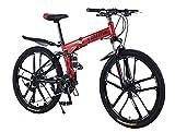 Mountainbike für Erwachsene faltende Fahrräder 26Zoll Klappfahrrad Doppelschockabsorption Fahrrad für Junge Mädchen,Scheibenbremse vorne und hinten - 27Gang-Schaltung für Radfahren im Freien/red