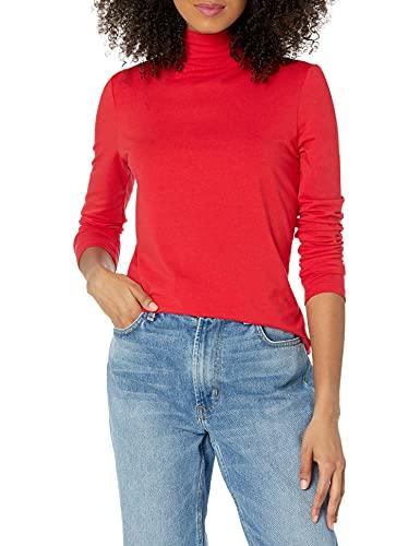 Amazon Essentials - Camiseta de manga larga, cuello alto y corte clásico para mujer, Rojo (Red), US XL (EU 2XL)