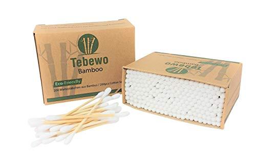 Tebewo Bamboo | Wattestäbchen aus Bambus und Baumwolle | 100% biologisch abbaubar | kompostierbar | umweltfreundliche premium Wattestäbchen (400)
