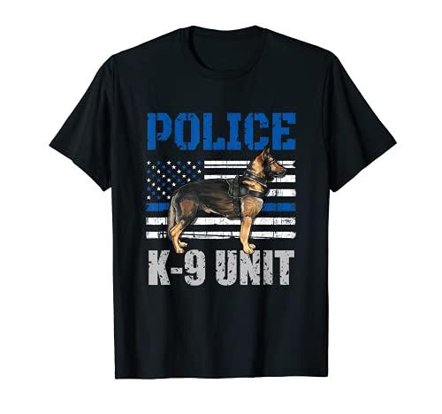 Disfraz de polica K-9 unidad camisa delgada lnea azul oficial perro Camiseta
