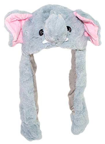 Plush Costume Animal Hat with Paws, Light Up Kids Character Hat with Moving Ears (Elephant)