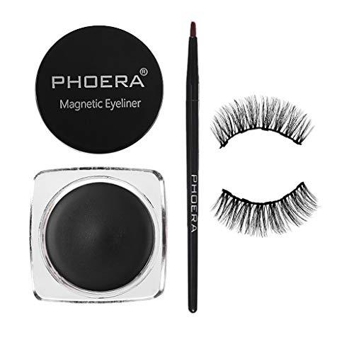 Flurries ❦ 👀 ❦ Magnetic Eyeliner Paste Gel Liquid - Magnetic False Eyelas Eyelashes - Lashes & Brush Set - No Glue & Mess Free - Fast & Easy Application (Dramatic Eyelashes + Eyeliner Paste + Brush)