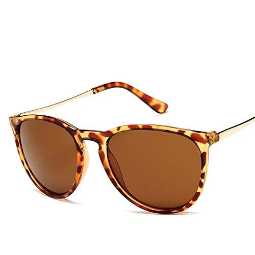 Medio Gafas de Sol de la Vendimia del Gato de los Ojos de Mujer de Marca de diseño Erika Modelos Feminino Rayos protección por duplicación de los vidrios de Sun Protección (Lenses Color : Leopard)