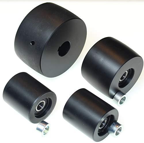 (NY4-24) Riemenschleifer-Rad-Set für Messerschleifer 10,2 cm Antrieb, 24 mm Schaft, 7,6 cm Spur, 5,1 cm Idler