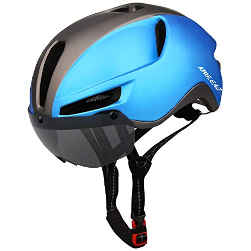 KINGLEAD Casco de Bicicleta de montaña, Casco de Bicicleta de Carretera Seguridad para Hombres Carga USB, Gafas magnéticas Desmontables Protección UV y Visera Casco de Ciclismo Hombres