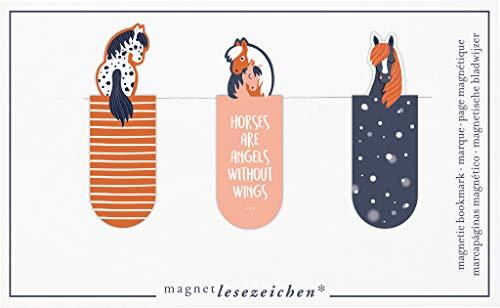 moses. Magnetlesezeichen Horses 3er Set | Magnetisches Lesezeichen Pferde | Charmant Illustriert