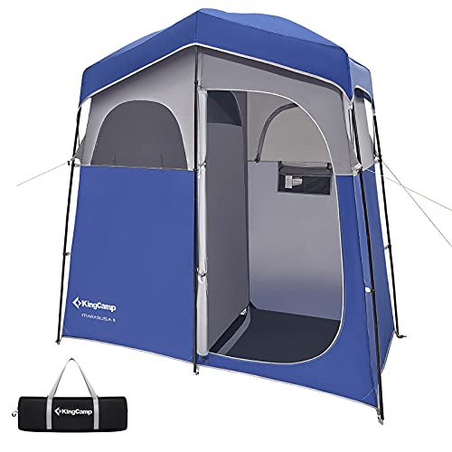 KingCamp Oversize Extra Wide Camping Privacy Shelter Tent, Portable Outdoor Shower Tent Dressing Changing Room Tent with Carry Bag, Camp Toilet, Easy Set Up, 2 Rooms/Blue