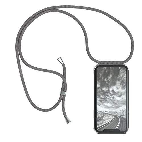 EAZY CASE Handykette kompatibel mit iPhone XR Handyhülle mit Umhängeband, Handykordel mit Schutzhülle, Silikonhülle, Hülle mit Band, Stylische Kette mit Hülle für Smartphone, Anthrazit